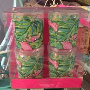 Lilly Pulitzer Painted Palms Lo-Ball Glasses